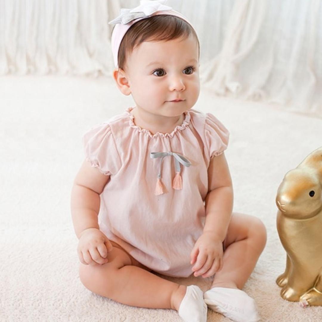 c51529e071b ✓️STOCK - SWEET PINK RUFFLED STRETCHY COLLAR TASSEL BOW RIBBON OVERALL  ONESIE NEWBORN BABY TODDLER GIRLS ROMPER KIDS CHILDREN CLOTHING