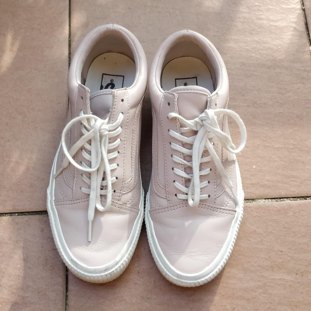 VANS Old Skool Baby Pink Leather Embossed Detail White Sole Old School Skate Shoes