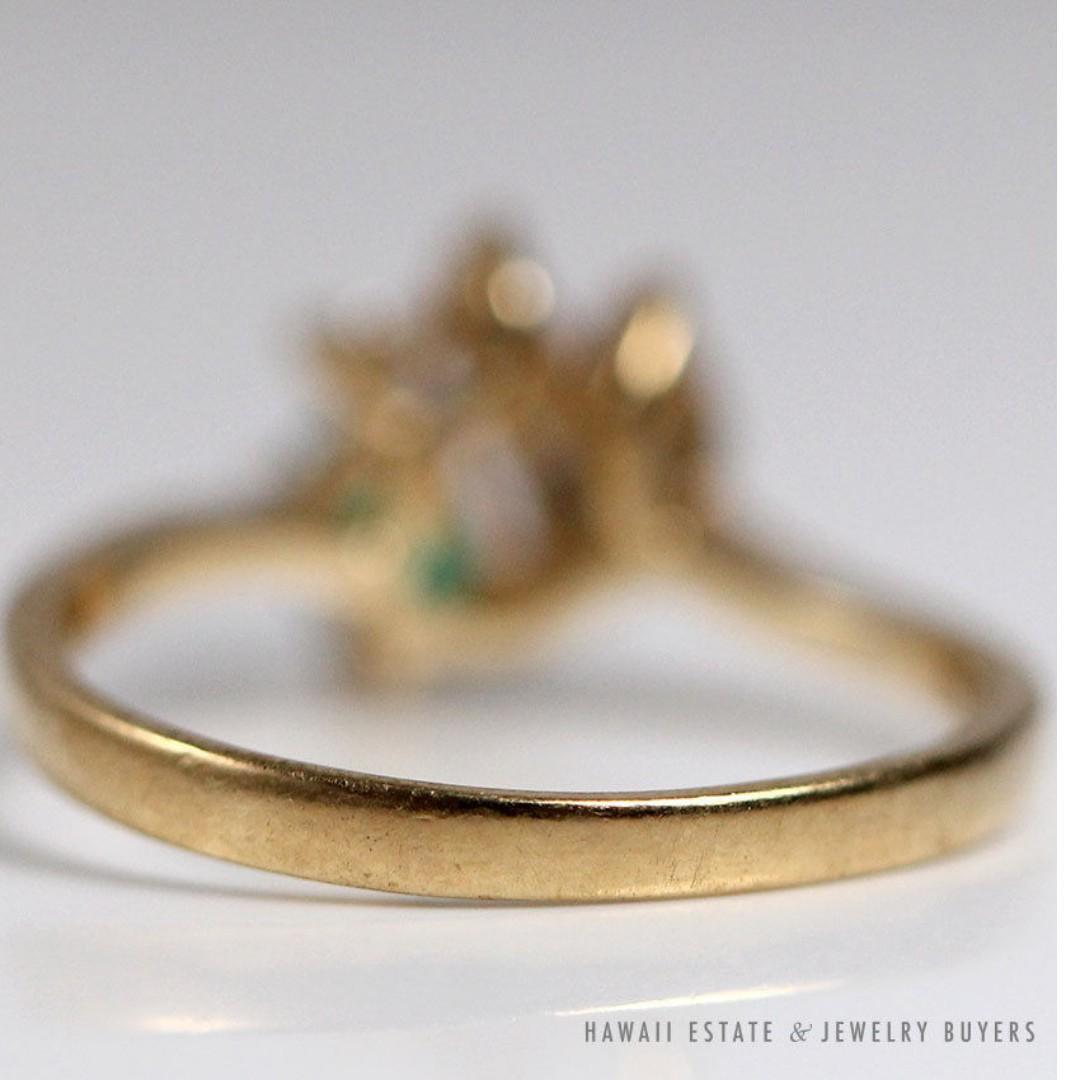 VINTAGE EMERALD & DIAMOND DAINTY ELEGANT 14K YELLOW GOLD RING SIZE 5.5