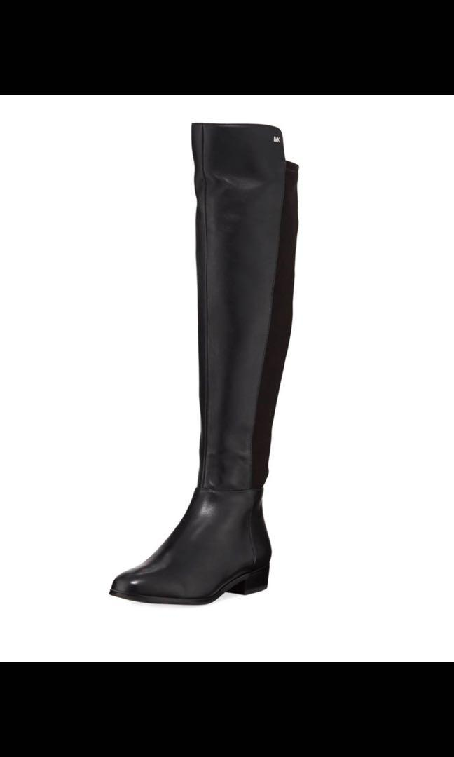 Women's Black MICHAEL MICHAEL KORS Bromley Flat Leather Over The Knee Boot size 11