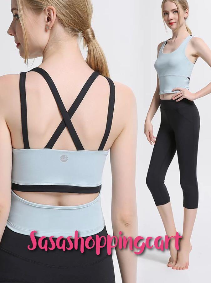 😆FREE SHIPPING* under 500g😆 (Blue) Yoga clothing suit female 2019 new autumn and winter gym professional running sports vest fashion sexy