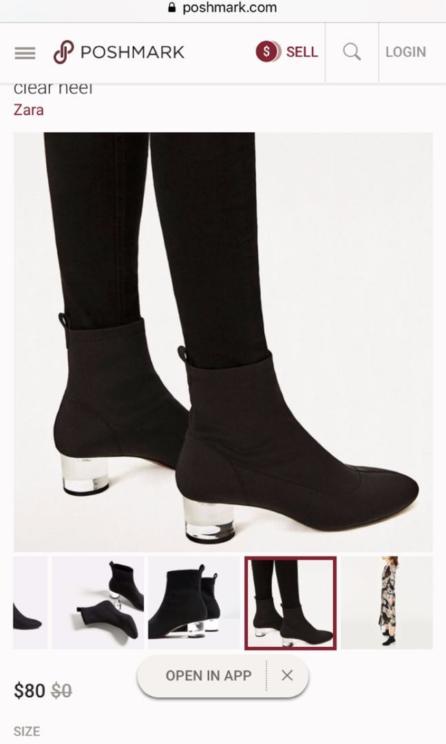b26cf281742a ZARA Ankle Boots with methacrylate clear heel