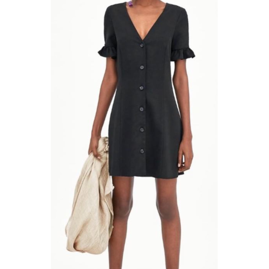 Zara Trafaluc Flutter Sleeve Black Mini Dress with Buttons
