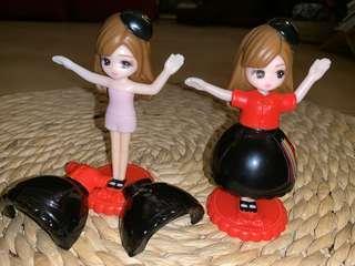 Auth Japan Mc Donald 2 collectible big eyes dolls