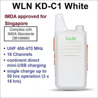 Military grade! IMDA Approved WLN KD-C1 WHITE Mini UHF 400-470 MHz Handheld Transceiver Two Way Walkie Talkie Radio for security, restaurants, F&B, events, car clubs, convoy, travel