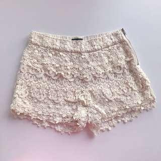 Bardot Crochet Lace Shorts in Beige