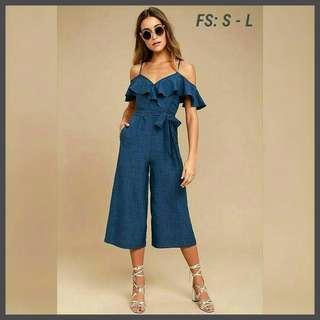 Best Seller! Sale! US Style Cold Shoulders Ruffles Jumpsuit (FS: Best fit S - L; fits 25 - 29 w)
