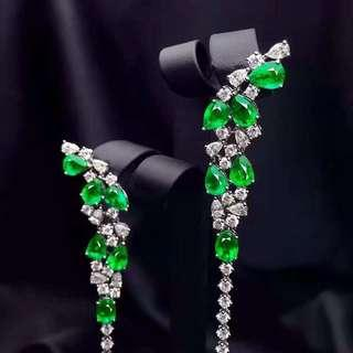 詢價 8.08ct 18K金天然祖母綠鑽石耳環 附證書 Natural emerald diamond earring