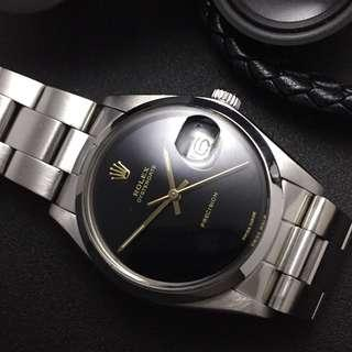 SOLD-      34mm Rolex Oysterdate 6694 In Luxurious Gloss Piano Black (circa 1978)