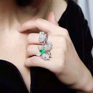 NEW 詢價 -最美蝶戀花戒指 一款兩戴 18K金天然祖母綠鑽石戒指 附證書 Natural emerald diamond ring