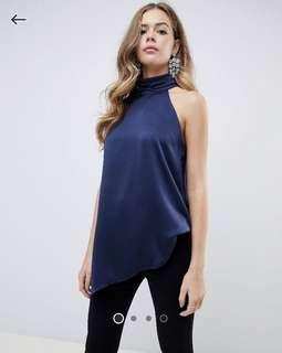 BNWT High neck Halter Satin Top (UK6)