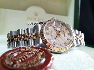 Ladies ROLEX DATEJUST 18K Halfgold 10 Diamonds Silver digital dial. No pinhole!