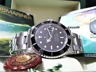 (CERT & Box) ROLEX SUBMARINER Date Steel 16610LN Solid End Bracelet. No pinhole!
