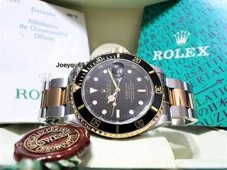 (CERT & Box) ROLEX SUBMARINER BLACK 18K Halfgold 16613LN collectible!