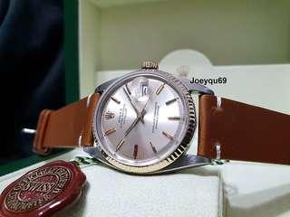 Vintage ROLEX DATEJUST Half gold 1601-3 with Rare Silver Pie Pan dial.  Collectible!
