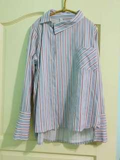 正韓有標 造型斜釦袖口開叉條紋襯衫