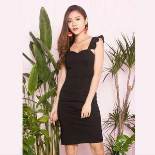 LBR Label Claralia Flutter Midi Dress Black