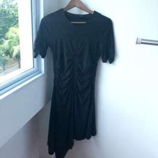 Topshop Black Asymmetrical Ruched Dress