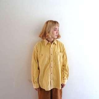 🚚 鵝黃色燈芯絨襯衫🔥賣場商品任選兩件9折 3件85折🔥