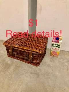 🔥🔥$1 rental Rattan basket
