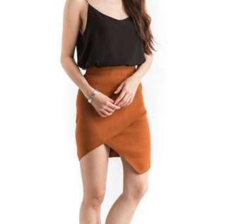 🚚 Retro Knit Overlap Rust Skirt - Work Skirt Office Skirt Formal Skirt Stylish Skirt Slit Skirt Knit Skirt Knitted Skirt Elastic Waist Band Office Dress Work Dress Irregular Skirt Sexy Skirt Knit Skirt Pencil Skirt