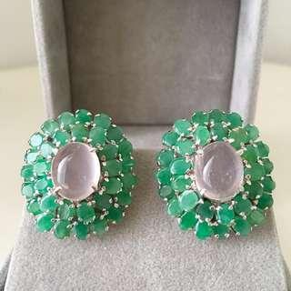 Genuine Emerald with Rose quartz earrings