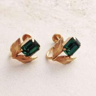 美國二手Vintage 1950年祖母綠金色耳夾耳環