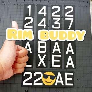 Batch 18/01/19 Rim Buddy LTA approved font registration stickers for scooters and PMD (DYU, Fiido, AM, Tempo, Speedway, Inokim, Dualtron, Ultron, Xiaomi)