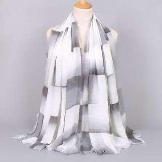 NEW - Pashmina scarf anti kusut crinkle twotone - hitam