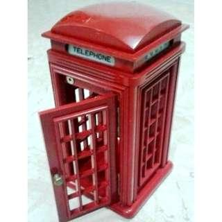 Vintage Red London Telephone Booth 21x21xHt40cm Real Wood