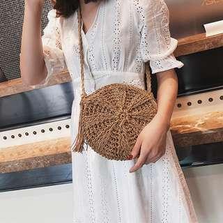 [NEW]  Dandelion Weaved Round Straw Bag