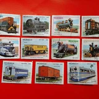 Perangko Nicaragua Train Stamps