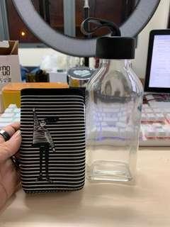 Baroque glass water bottle