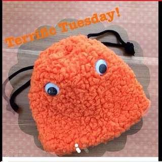 $15 Cute Furry Bright Orange Big-eyed Drawstring Pouch From London (Brand New)