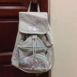 $49.95 Large Light Pastel Blue Floral Backpack