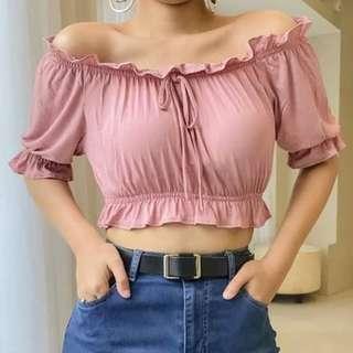 Off Shoulder Cropped Top in Pink
