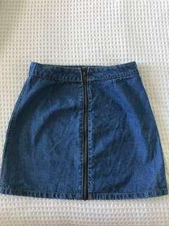 Denim zip front skirt
