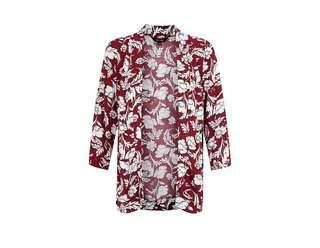 NEW LOOK Burgundy Floral Kimono with Pockets
