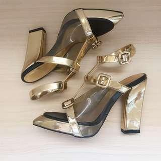 *NEW* Clear strappy buckled gold heels size 6 /37