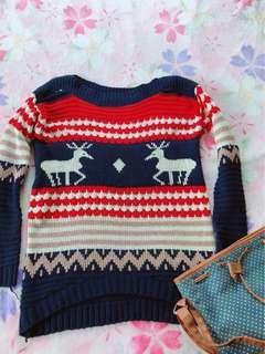 🚚 可愛麋鹿冬季暖心針織上衣(全新未穿)