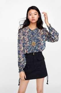 ZARA WOMAN Floral Top with Bow