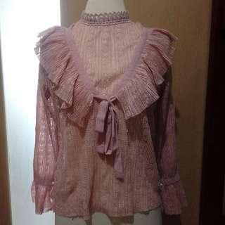 Classy Pink Lace Blouse