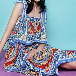 Tile print dress vintage midi maxi shoulder bow ties dolce Sicily