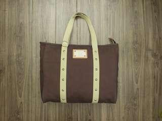 🚚 史上最頂級帆布包!超越 Hermes、Chanel 的好包!Dr.Hauschka 咖啡色 帆布 50CM超大型 硬挺版型 卯釘帆布手提包