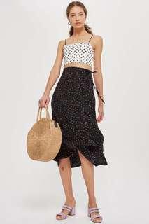 Black Multi Spotted Button Midi Skirt