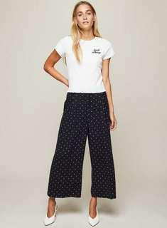 Black Spotted Wide Leg Cropped Trousers