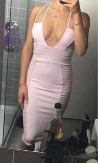 Baby Pink Midi Strappy Mesh Dress (BRAND NEW)