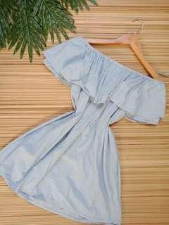 Zara trafaluc off shoulder pinstripe dress