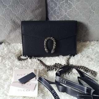 ON SALE: Authentic Gucci Dionysus Black Leather Mini Chain Bag