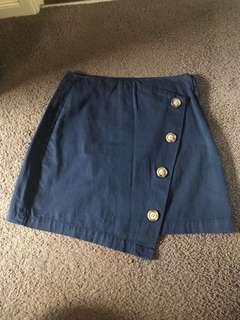 A line asymmetrical navy blue skirt